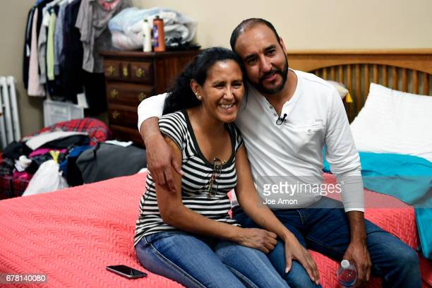 Arturo Hernandez Garcia visiting his friend from sanctuary Jeanette Vizguerra after he received a brief reprieve as ICE released him from immigration...