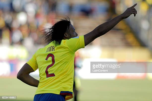 Arturo Mina of Ecuador celebrates after scoring the opening goal during a match between Ecuador and Venezuela as part of FIFA 2018 World Cup...