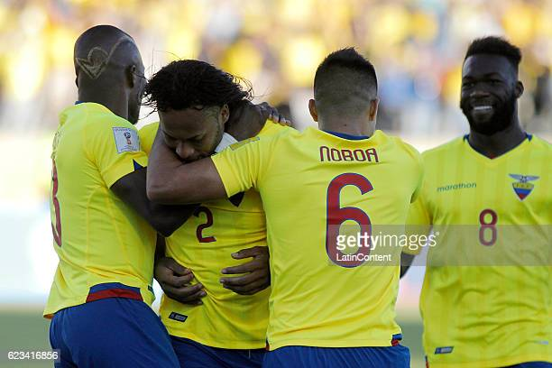 Arturo Mina of Ecuador celebrates with teammates after scoring the opening goal during a match between Ecuador and Venezuela as part of FIFA 2018...