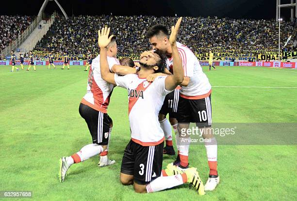 Arturo Mina of River Plate celebrates after scoring the second goal of his team during a match between Boca Juniors and River Plate as part of the...