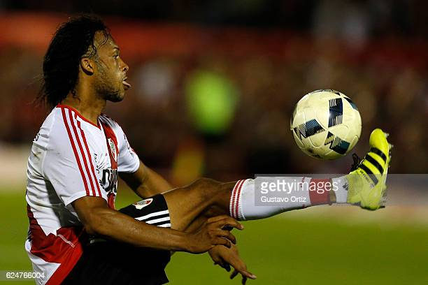 Arturo Mina of River Plate controls the ball during the match between Newell's Old Boys and River Plate as part of the Torneo Primera Division...