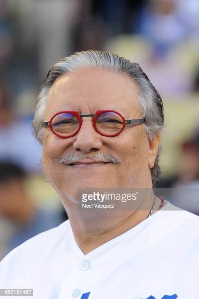 Arturo Sandoval attends pre game ceremonies at a baseball game between the San Francisco Giants and the Los Angeles Dodgers at Dodger Stadium on...