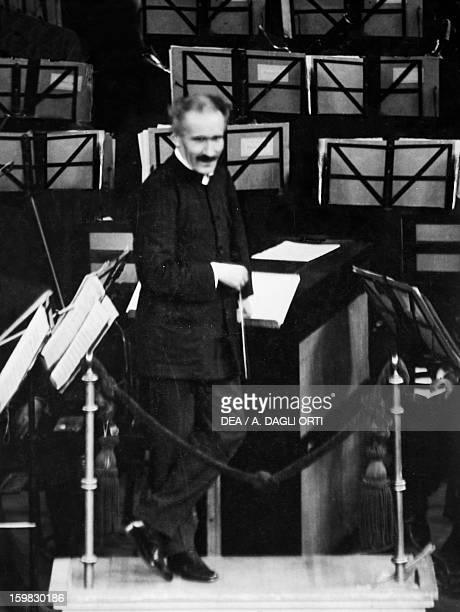 Arturo Toscanini Italian conductor during rehearsal at La Scala Theatre Milan Milan Museo Teatrale