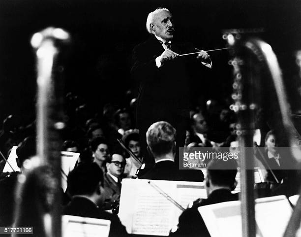 Arturo Toscanini Italian conductor is shown conducting the NBC symphony orchestra during a radio concert in the 1930s Undated photograph