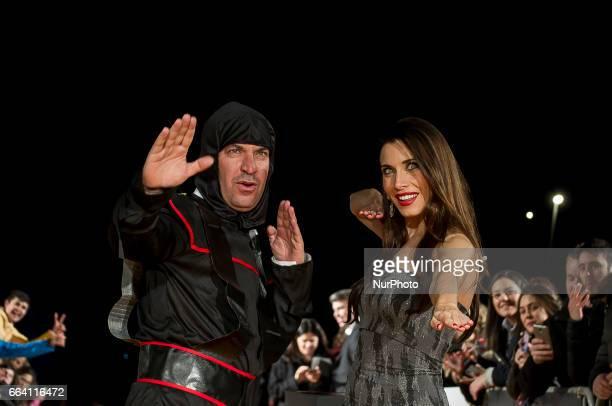 Arturo Valls and Pilar Rubio attend fesTVal Orange Carpet on March 31 on March 31 2017 in Burgos Spain