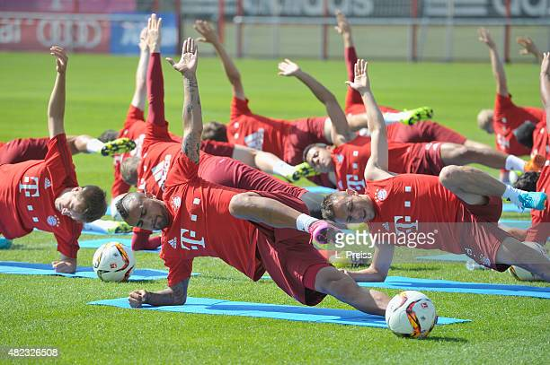 Arturo Vidal in action during a training session of FC Bayern Muenchen at Saebener Strasse training ground on July 30 2015 in Munich Germany