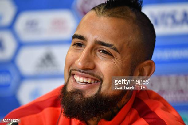 Arturo Vidal looks on during a press conference of the Chiliean national football team on July 1 2017 in Saint Petersburg Russia