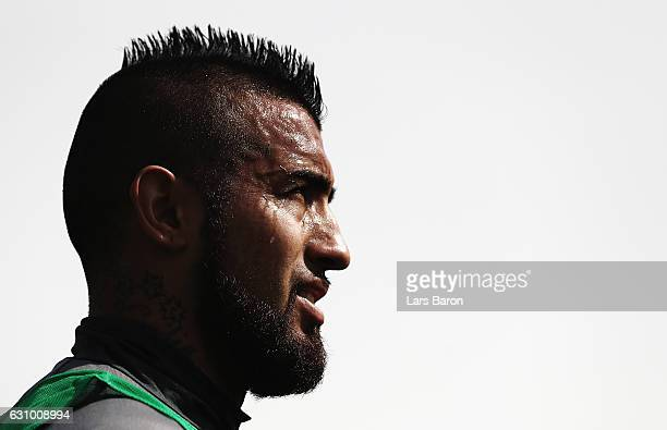 Arturo Vidal looks on during a training session at day 3 of the Bayern Muenchen training camp at Aspire Academy on January 5 2017 in Doha Qatar