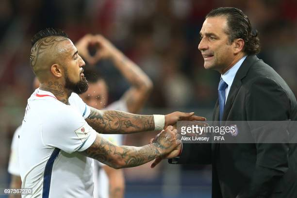Arturo Vidal o Chile celebrates his sides second goal wiith Juan Antonio Pizzi of Chile during the FIFA Confederations Cup Russia 2017 Group B match...