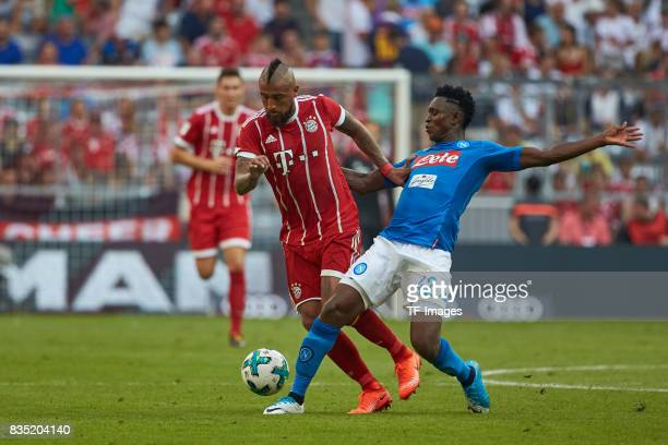 Arturo Vidal of Bayern Muenchen and Amadou Diawara of Napoli battle for the ball during the Audi Cup 2017 match between SSC Napoli and FC Bayern...