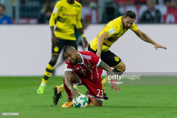 Arturo Vidal of Bayern Muenchen and Gonzalo Castro of Dortmund battle for the ball during the DFL Supercup 2017 match between Borussia Dortmund and...