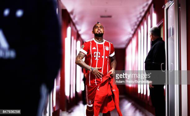 Arturo Vidal of Bayern Muenchen before the Bundesliga match between FC Bayern Muenchen and 1 FSV Mainz 05 at Allianz Arena on September 16 2017 in...
