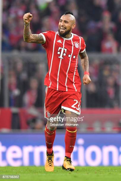 Arturo Vidal of Bayern Muenchen celebrates after he scored a goal to make it 10 during the Bundesliga match between FC Bayern Muenchen and FC...
