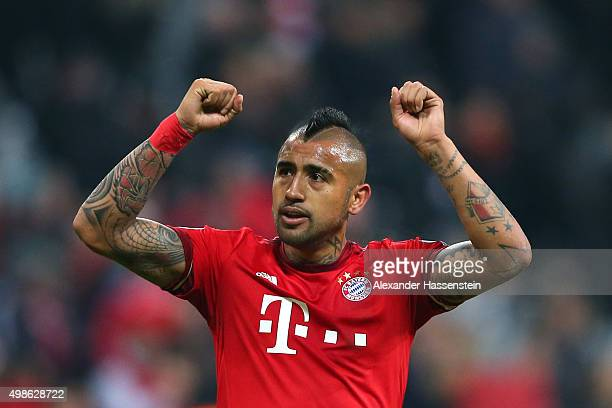 Arturo Vidal of Bayern Muenchen celebrates victory after the UEFA Champions League group F match between FC Bayern Munchen and Olympiacos FC at the...