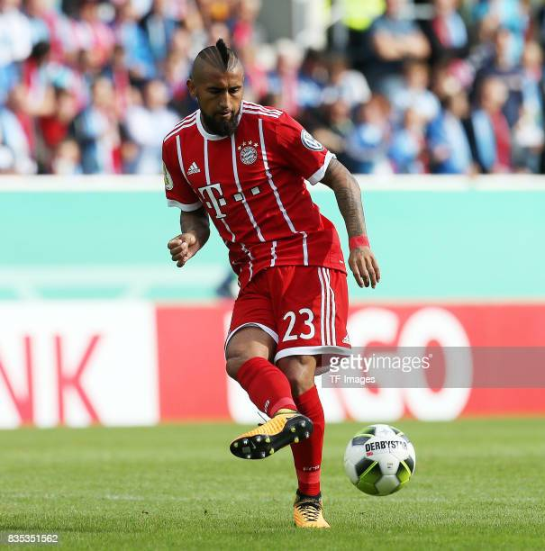 Arturo Vidal of Bayern Muenchen controls the ball during the DFB Cup first round match between Chemnitzer FC and FC Bayern Muenchen at community4you...