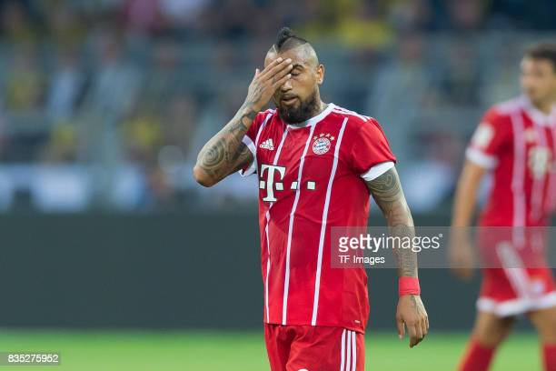 Arturo Vidal of Bayern Muenchen gestures during the DFL Supercup 2017 match between Borussia Dortmund and Bayern Muenchen at Signal Iduna Park on...