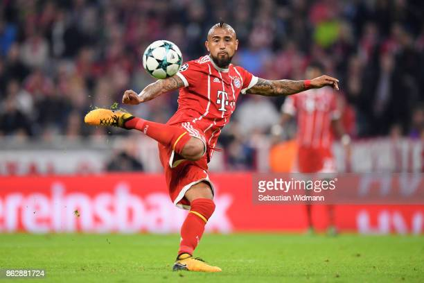 Arturo Vidal of Bayern Muenchen in action during the UEFA Champions League group B match between Bayern Muenchen and Celtic FC at Allianz Arena on...