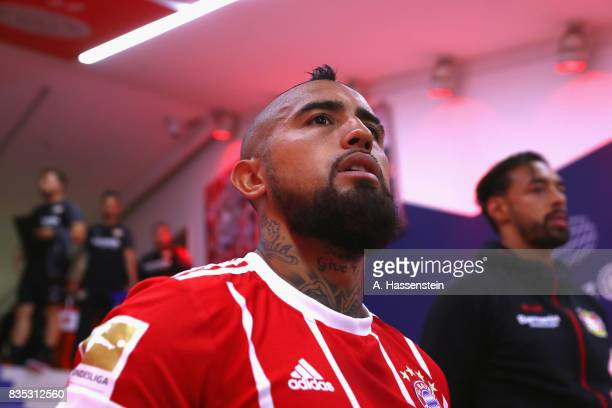 Arturo Vidal of Bayern Muenchen looks on prior to the Bundesliga match between FC Bayern Muenchen and Bayer 04 Leverkusen at Allianz Arena on August...