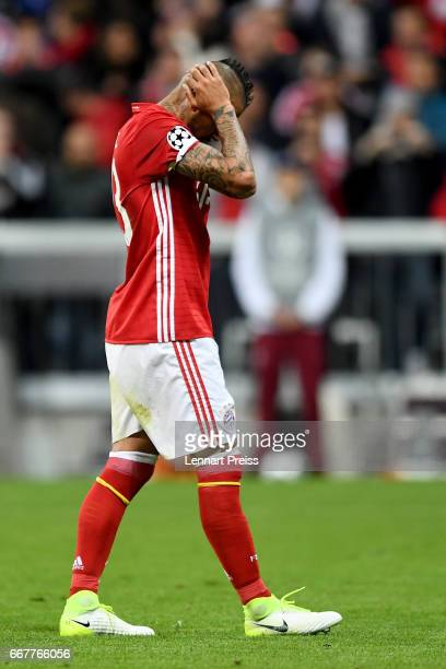 Arturo Vidal of Bayern Muenchen reacts after missing a penalty during the UEFA Champions League Quarter Final first leg match between FC Bayern...