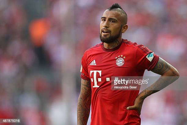 Arturo Vidal of Bayern Muenchen reacts during the Bundesliga match between FC Bayern Muenchen and FC Augsburg at Allianz Arena on September 12 2015...