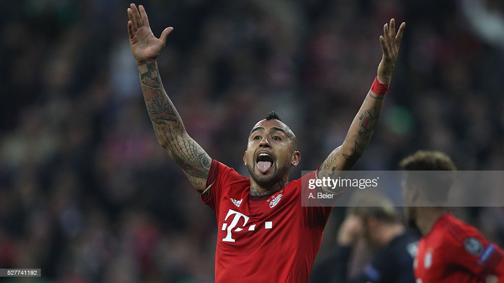 Arturo Vidal of Bayern Muenchen reacts during the Champions League semi final second leg match between FC Bayern Muenchen and Club Atletico de Madrid at Allianz Arena on May 3, 2016 in Munich, Germany.