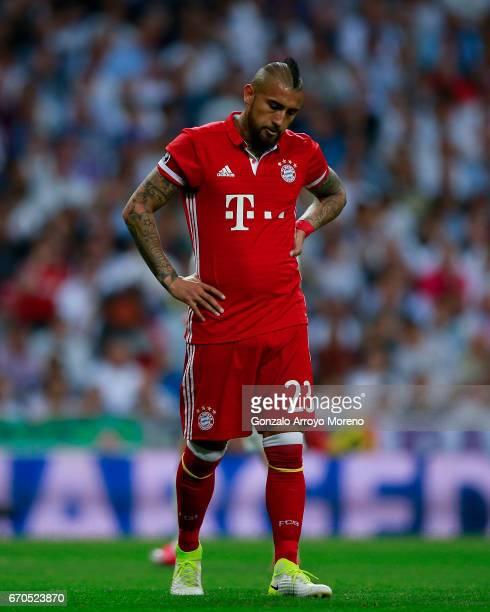 Arturo Vidal of Bayern Muenchen reacts during the UEFA Champions League Quarter Final second leg match between Real Madrid CF and FC Bayern Muenchen...