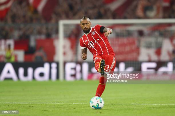 Arturo Vidal of Bayern Muenchen runs with the ball during the Bundesliga match between FC Bayern Muenchen and Bayer 04 Leverkusen at Allianz Arena on...