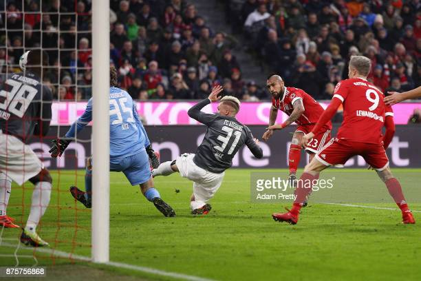 Arturo Vidal of Bayern Muenchen scores his teams first goal to make it 10 during the Bundesliga match between FC Bayern Muenchen and FC Augsburg at...