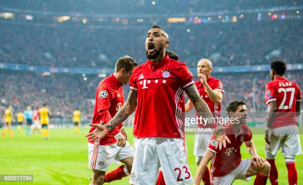 Arturo Vidal of Bayern Munich celebrates after a goal during the UEFA Champions League Round of 16 first leg match between FC Bayern Muenchen and...