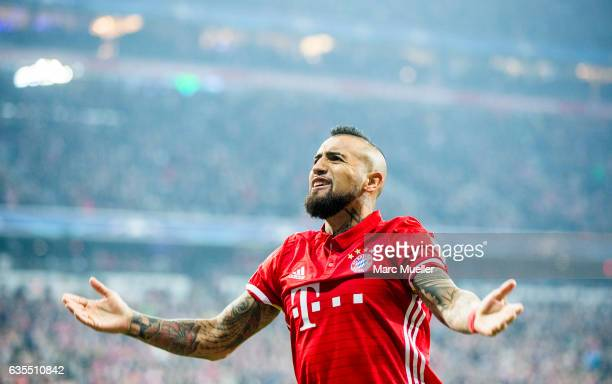 Arturo Vidal of Bayern Munich celebrates after a goal of his team during the UEFA Champions League Round of 16 first leg match between FC Bayern...