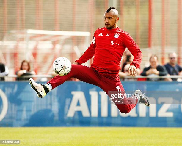 Arturo Vidal of Bayern Munich in action during training at the FC Bayern Munich Saebener Strasse training ground on April 3 2016 in Munich Germany