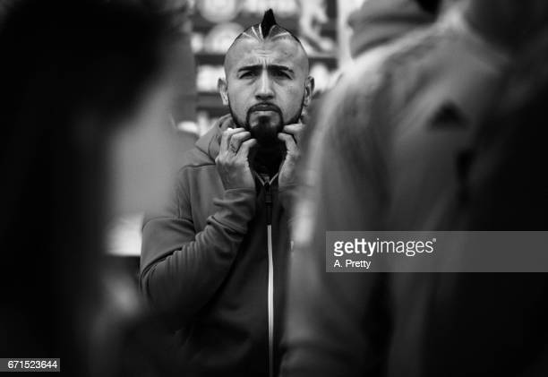Arturo Vidal of Bayern Munich prepares himself in the tunnel before the Bundesliga match between Bayern Muenchen and 1 FSV Mainz 05 at Allianz Arena...