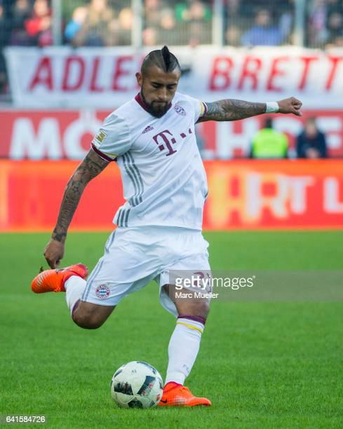 Arturo Vidal of Bayern Munich with Ball during the Bundesliga match between FC Ingolstadt 04 and Bayern Muenchen at Audi Sportpark on February 11...