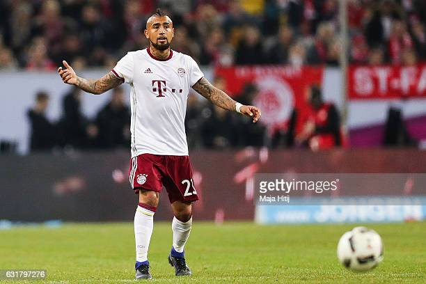 Arturo Vidal of Bayern reacts during Final Match between Bayern and 1 FSV Mainz 05 during Telekom Cup 2017 a at EspritArena on January 14 2017 in...
