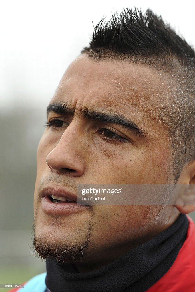 Arturo Vidal of Chile after a training session at Spiserwies stadium November 13, 2012 in Sait Gallen, Switzerland. Chile will play a friendly match against Serbia on November 14th.