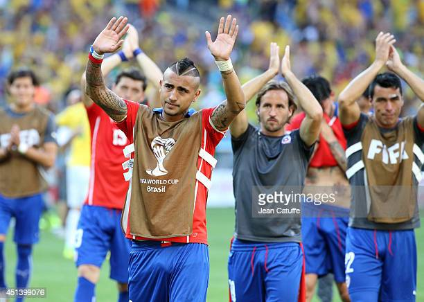 Arturo Vidal of Chile and his teammates thank their supporters after the 2014 FIFA World Cup Brazil round of 16 match between Brazil and Chile at...