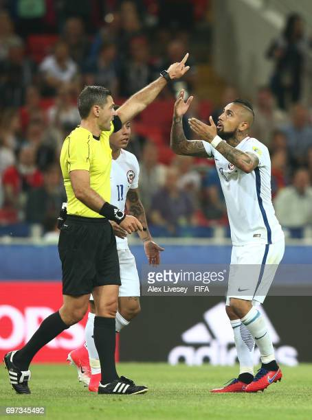 Arturo Vidal of Chile appeals to referee Damir Skomina after Chile's goal was disallowed during the FIFA Confederations Cup Russia 2017 Group B match...