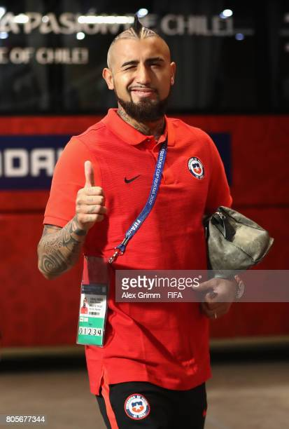 Arturo Vidal of Chile arrives at the stadium prior to the FIFA Confederations Cup Russia 2017 Final between Chile and Germany at Saint Petersburg...
