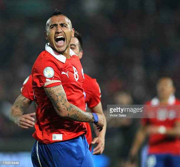 Arturo Vidal of Chile celebrates a goal against Bolivia during a match between Chile and Bolivia as part of the 14th round of the South American...