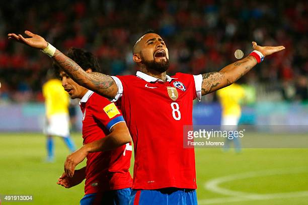 Arturo Vidal of Chile celebrates after Alexis Sanchez scored the second goal of his team during a match between Chile and Brasil as a part of FIFA...