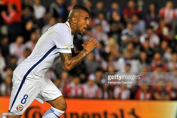 Arturo Vidal of Chile celebrates after scoring the first goal of his team during a match between Paraguay and Chile as part of FIFA 2018 World Cup...