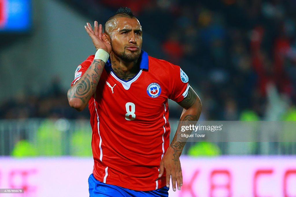 Arturo Vidal of Chile celebrates after scoring the opening goal through a penalty kick during the 2015 Copa America Chile Group A match between Chile...