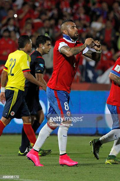 Arturo Vidal of Chile celebrates after scoring the opening goal during a match between Chile and Colombia as part of FIFA 2018 World Cup Qualifiers...