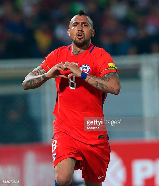 Arturo Vidal of Chile celebrates after scoring the third goal of his team during a match between Venezuela and Chile as part of FIFA 2018 World Cup...