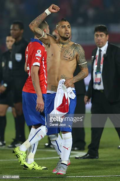 Arturo Vidal of Chile celebrates after the 2015 Copa America Chile Semi Final match between Chile and Peru at Nacional Stadium on June 29 2015 in...
