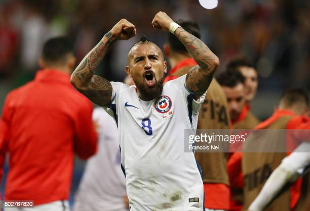 Arturo Vidal of Chile celebrates his side's victory through the penalty shootout during the FIFA Confederations Cup Russia 2017 SemiFinal between...