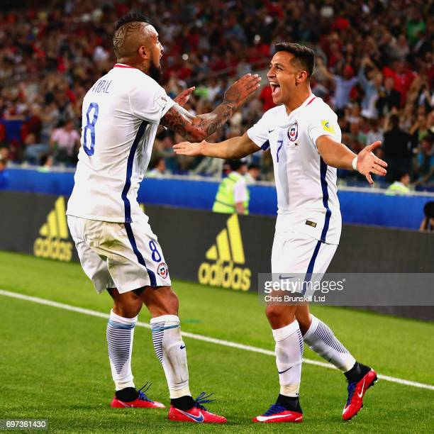 Arturo Vidal of Chile celebrates with Alexis Sanchez of Chile after scoring the first goal for Chile during the 2017 FIFA Confederations Cup Russia...