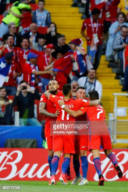 Arturo Vidal of Chile celebrates with his teammates after scoring a goal during the 2017 FIFA Confederations Cup match between Chile and Australia at...