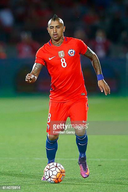 Arturo Vidal of Chile drives the ball during a match between Chile and Peru as part of FIFA 2018 World Cup Qualifiers at Nacional Stadium on...