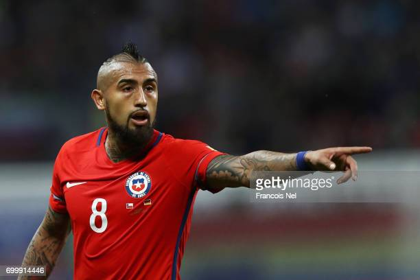 Arturo Vidal of Chile gestures during the FIFA Confederations Cup Russia 2017 Group B match between Germany and Chile at Kazan Arena on June 22 2017...